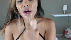Deepthroating Sloppy Latina Drool Bitch Bangs Her Mouth Open With Huge Sextoy