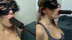 Steamy Cat Slave Nailing Machine Blow Job & Deepthroat Training – RARE