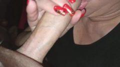 Close Up Long Nails Blow-Job