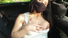 Pregnant Appealing Vixen Wanking In A Car (close Up Pussy)