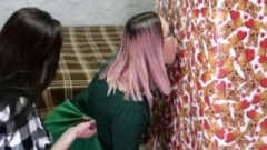 Valentine's Day Surprise! Gf Shared His Gift With A Friend. Gloryhole Blowjob