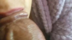 Latina With Marvelous Lips Sucks The Head Of Big Black Dick